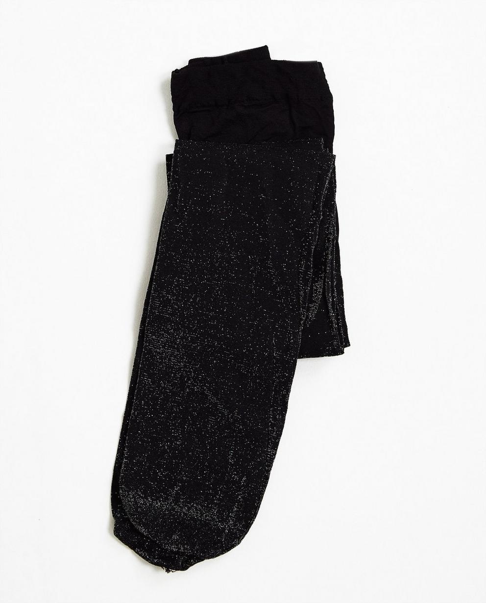 Zwarte glitterkousenbroek - met versterkt broekje - JBC